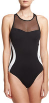 LaBlanca La Blanca Block My Way High-Neck One-Piece Swimsuit, Black/White