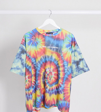 New Girl Order Curve oversized festival t-shirt in rainbow tie dye with i'll bring you flowers text