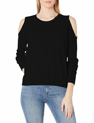 Minnie Rose Women's 100% Cashmere Cold Shoulder Sweater