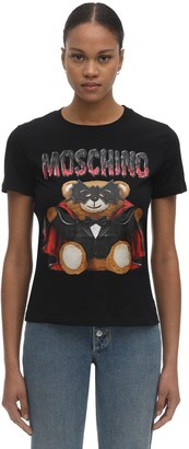 Moschino Bat Teddy Print Jersey T-Shirt