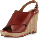 Andre Assous Cora Leather Espadrille Wedge Sandal, Black