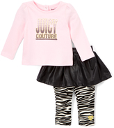 Juicy Couture Light Pink Top & Black Zebra Skirted Leggings - Infant