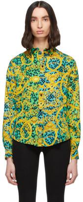 Versace Green Leopard Barocco Print Shirt
