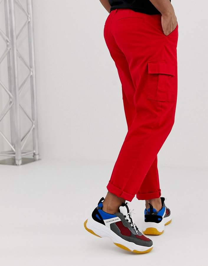 world-wide selection of authorized site really comfortable Design DESIGN cargo trousers in bright red