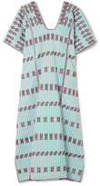Pippa Holt - Embroidered Striped Cotton Kaftan - Mint