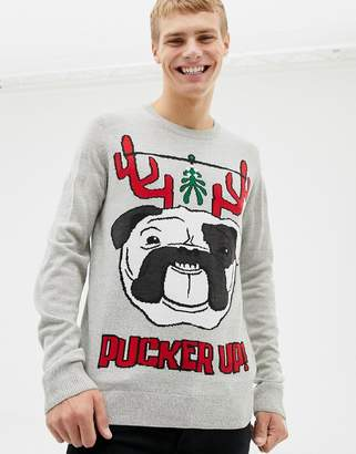 Burton Menswear pucker up Christmas jumper in light grey