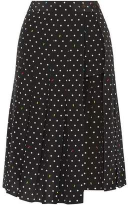 Sandy Liang Uniform Cutout Polk-dot Silk-crepe Skirt