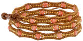 Chan Luu 18K Over Silver & Leather Coral Triple Wrap Bracelet