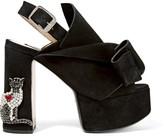 No.21 No. 21 - Embellished Suede Platform Sandals - Black