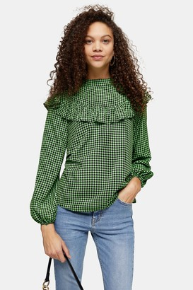 Topshop Womens Petite Green Gingham Check Frill Blouse - Green