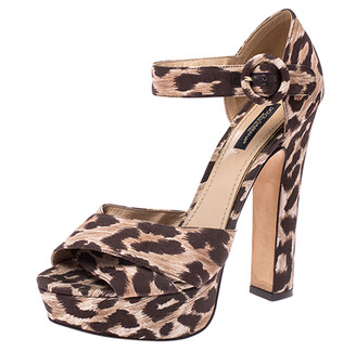 Dolce & Gabbana Leopard Print Fabric Ankle Strap Block Heel Sandals Size 38.5