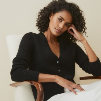 The White Company Button-Through Cardigan with Alpaca, Black, Extra Small