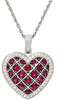 "QVC Precious Gemstone & Zircon Sterling Heart Enhancer w/ 18"" Chain"