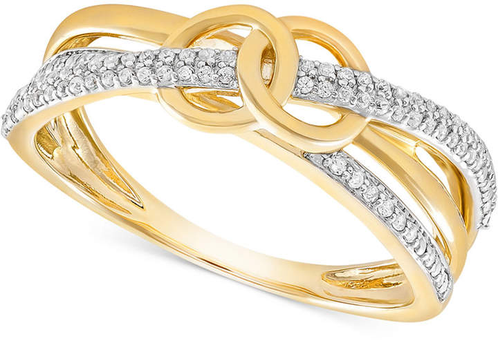 Wrapped Diamond Double Circle Ring (1/6 ct. t.w.) in 10k Gold, Created for Macy's