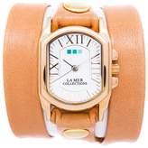 La Mer Goldtone Oval Case Camel-Colored Leather Wrap Watch