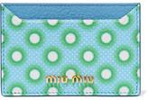 Miu Miu Printed Textured-leather Cardholder - Blue