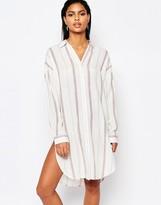 Moon River Striped Shirt Dress