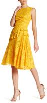 Oscar de la Renta Sleeveless Lace Back Keyhole Dress