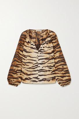 Mes Demoiselles Birmania Tiger-print Cotton-voile Blouse