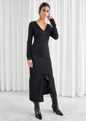 And other stories Fitted Centre Slit Midi Dress