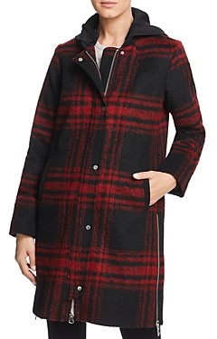 Vince Camuto Hooded Plaid Coat