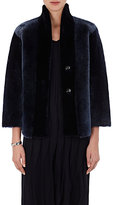 Giorgio Armani Women's Reversible Shearling & Leather Jacket-NAVY