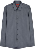 Hugo Elisha Blue Chevron-print Cotton Shirt