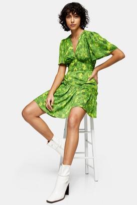 Topshop Willow Green Floral Print Angel Sleeve Mini Dress