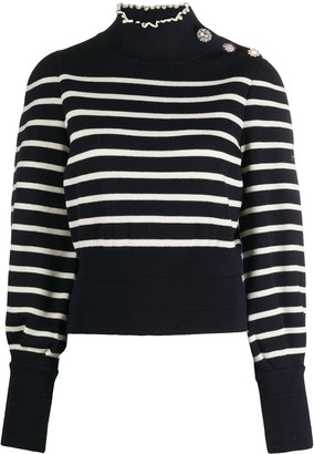 Marc Jacobs Striped Mock Neck Jumper