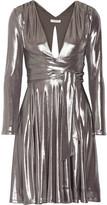 Halston Draped Stretch-lamé Mini Dress - Gunmetal