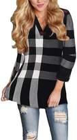 Ruiyige Women's Loose Fit V Neck Checkered Print Tartan Blouse Shirt Plus Size M