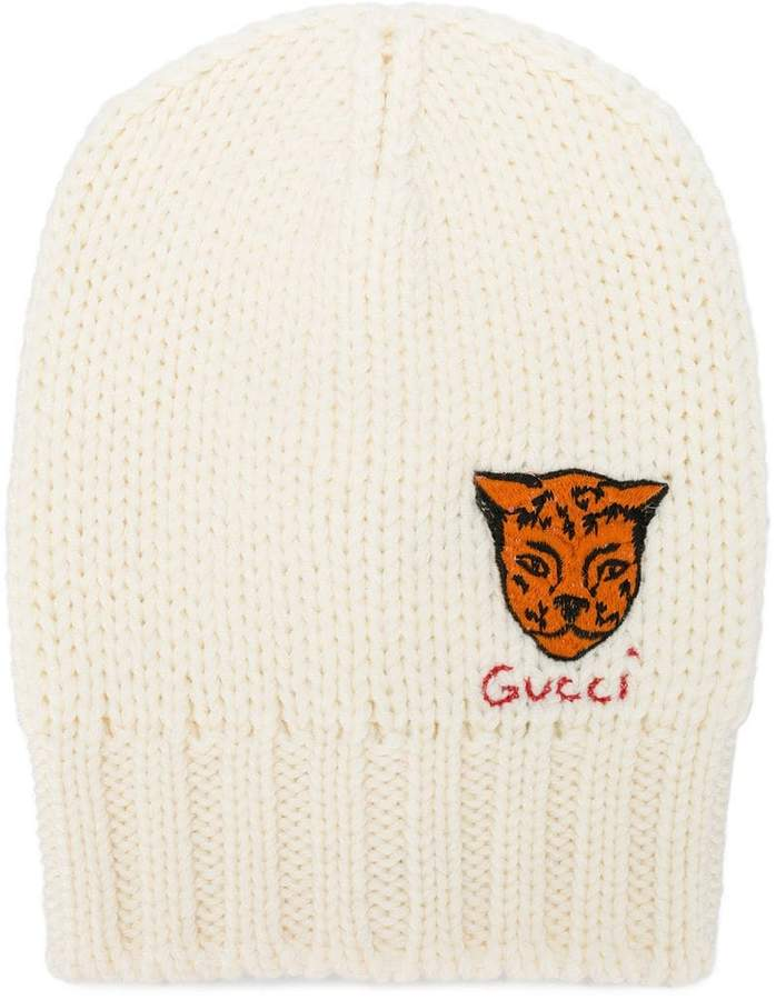 Gucci tiger embroidered knit beanie