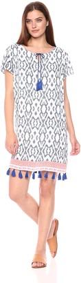 Tribal Women's Short Sleeve Dress with Tassel Detail