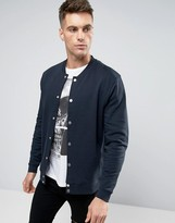 Asos Jersey Bomber Jacket With Snaps In Navy