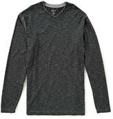 Roundtree & Yorke Long-Sleeve Slub Stripe V-Neck Tee
