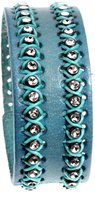 Beautiful Silver Jewelry Women's Stylish Aqua Teal Blue Leather Wrap Cuff Bracelet with Adjustable Snaps