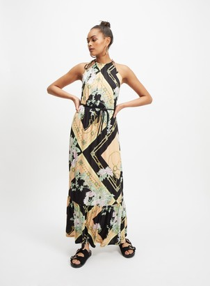 Miss Selfridge Multi Colour Scarf Print Belted Maxi Dress