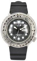 Seiko 7C46-7011 Stainless Steel / Rubber with Black Dial 47.5mm Mens Watch