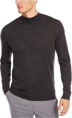 Tasso Elba Men Solid Mock-Neck Merino Wool Blend Sweater