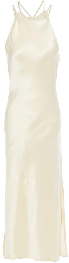 Nanushka Narita Open-back Crinkled Washed-satin Midi Slip Dress