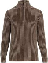Iris von Arnim High-neck half-zip ribbed-knit cashmere sweater
