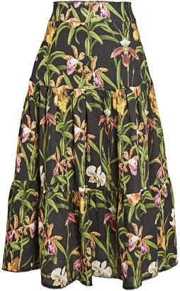 Agua Bendita Anis Printed Linen Maxi Skirt