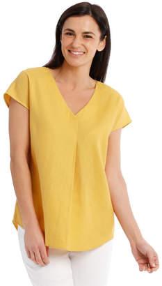 Regatta Extended Short Sleeve Linen Blend V Neck Top
