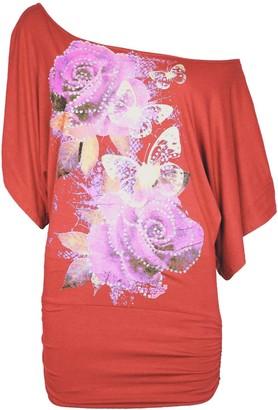 Be Jealous Womens Ladies Rose Butterflies Stud Off Shoulder Bardot Side Ruched T Shirt Top Plus Size (UK 20/22) Mocha