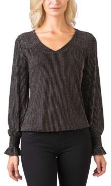 Belldini Black Label Women's Plus Size Metallic Smocked Blouson Sleeve Knit Top