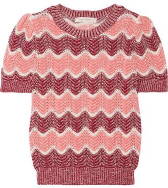 Striped Open-knit Wool-blend Sweater - Pink