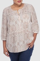 NYDJ Copenhagen Lace Printed 3/4 Sleeve Blouse In Plus