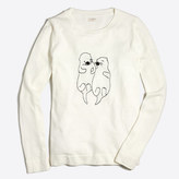 J.Crew Factory Embroidered otters Teddie sweater