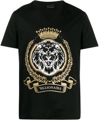 Billionaire lion print cotton T-shirt