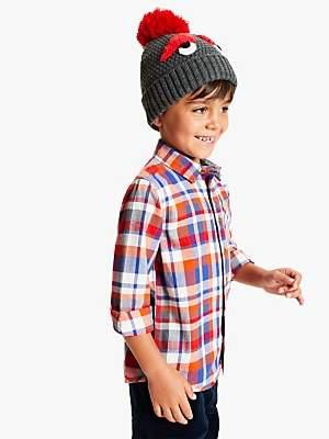 John Lewis & Partners Children's Monster Beanie Hat, Grey/Red
